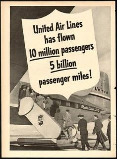 1948 Print Ad UNITED AIR LINES 10 million passenger flown 5 billion