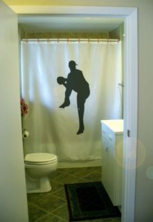 Shower Curtain baseball pitcher pitch throw ball cap