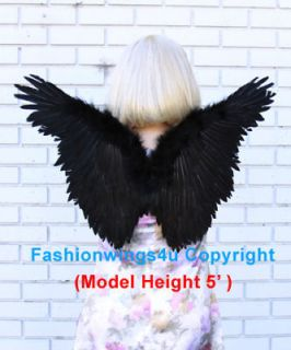 Children Juniors Petite Black Butterfly Style costume feather angel