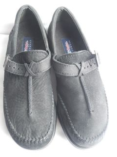 Womens Dexter USA Black Shoes Walkmocs 10 M Medium Slip On Buckle