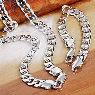 set mens 18k white gold filled necklace&brace​let GF jewelry curb