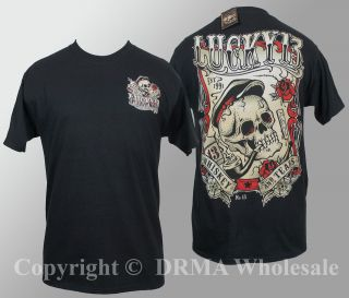 Authentic LUCKY 13 Whiskey and Tears Skull T Shirt M L XL XXL 3XL