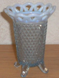 Imperial Art Glass Blue Opalescent Diamond Point With Loop Top Vase