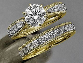 Vintage 14K Yellow Gold Diamonds Wedding Ring Set