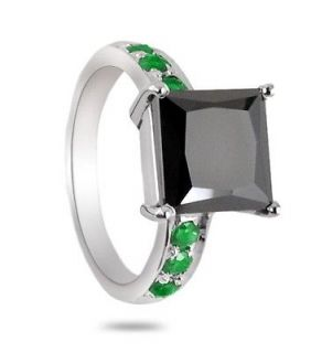 08 Cts Certified Princess Cut Black Diamond Ring with Emeralds