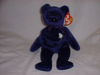 TY BEANIE BABY   PRINCESS (DIANA) THE DEEP PURPLE TEDDY BEAR *MWMT