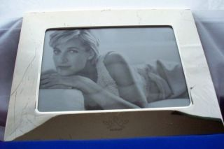 BEAUTIFUL SILVER PLATE FRAME w PICTURE of LADY DIANA ALTHORP LOGO