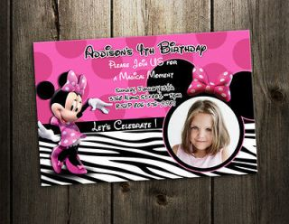 MINNIE MOUSE ZEBRA BIRTHDAY PARTY INVITATION first 1ST CUSTOM CARD