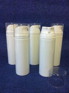 Empty 150ml Airless Pump Dispenser Bottle & over cap, Ideal for creams