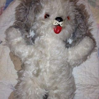 VINTAGE STUFFED RUBBER FACE DOG RUSHTON 18