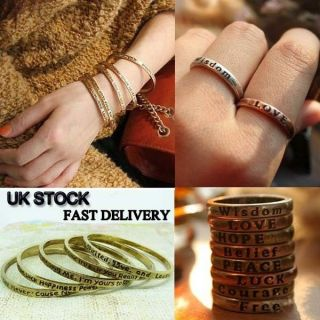 Vintage Ring/Bangle–Pick your Words Make a wish Love Hope Peace