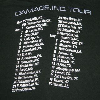 DAMAGE, INC 1986 NORTH AMERICAN TOUR T SHIRT XL MASTER OF PUPPETS