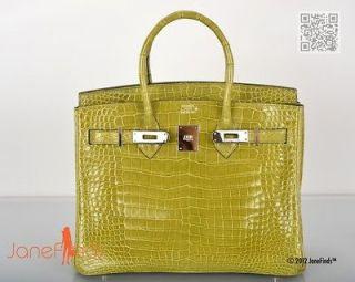 AMAZING FIND Hermes Birkin BAG 30cm CROCODILE VERT ANIS POROSUS PHW