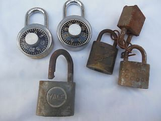 Lot Of 6 Vintage Padlocks, Slaymaker(brass), Yale Etc. Junk Drawer Lot