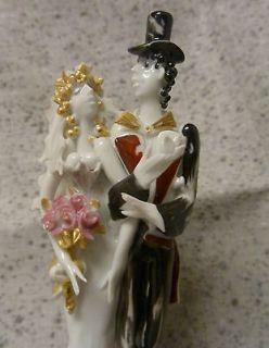 MEISSEN Hand Painted Small Porcelain Figurine Bride & Groom Wedding