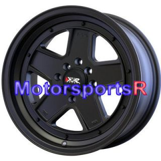 532 Flat Black Wheels Rims Deep Dish Drift 4x100 Mazda Miata BMW E30