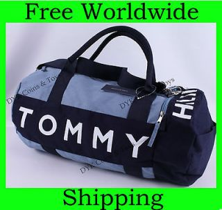 NEW TOMMY HILFIGER BLUE LARGE TRAVEL DUFFLE BAG GYM LOGO NWT