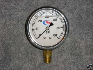60 LIQUID FILLED PRESSURE GAUGE AIR WATER HYDRAULIC