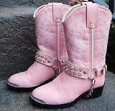 Durango Girls Pink Rhinestone Cowboy Boots Sz 1 Youth Childrens