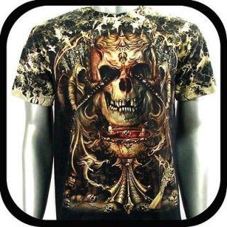 Survivor T Shirt Biker Punk Rock Tattoo S59 Sz M Devil Skull Glow In