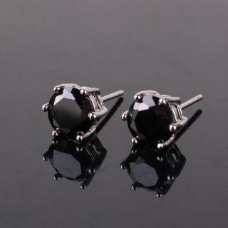 18k white gold filled black diamond cut crystal noble lady earring