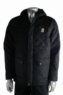 ECKO UNLTD Jacket Mens Diamond Quilted Style Black Padded Hooded NEW