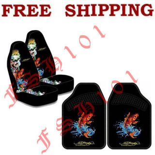 New Set Ed Hardy Koi Fish Car Truck Seat Covers & Floor Mats