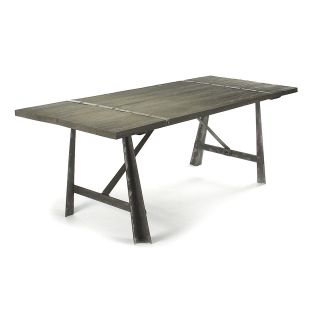Chelsea Burnished Steel Modern Industrial Limed Oak Dining Table