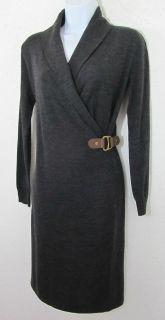Ralph Lauren Merino Wool Shawl Leather Buckle Belt Wrap Sweater Dress