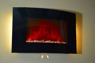 36 Wall Mounted Electric Fireplace Heater Backlight With Pebbles C