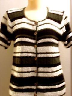 CROFT & BARROW BLK/GRAY/WHITE STRIPE SWEATER SIZE S