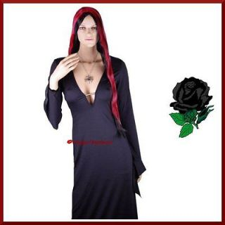 Morticia Addams Elvira Witch Vampire Halloween Fancy Dress Costume   M