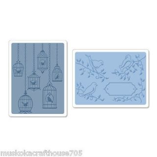Sizzix Textured Impress Embossing Folders 2PK Birds & Birdcages Set #2