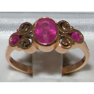 ANTIQUE 9K HALLMARKED ROSE GOLD GENUINE NATURAL RUBY LADIES RING