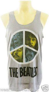 SALE THE BEATLES Fab Four Peace Sign John Lennon New Mens Singlet Top