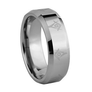 350 8mm Tungsten Laser Etched Masonic Ring Sizes 4 16