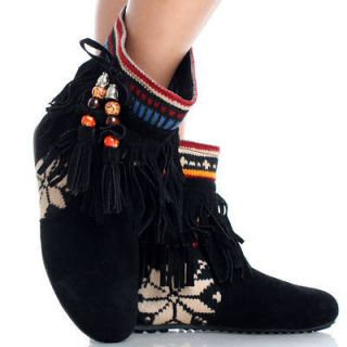 Black Suede Fringe Tassel Fair Isle Tribal Womens Flat Ankle Boots