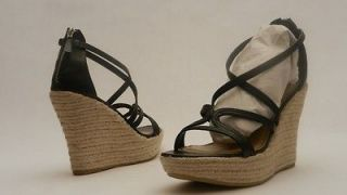 NEW NINE WEST US 11 EU 42 KENDALLDA BLACK WEDGE SANDALS SHOES