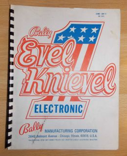 Original Vintage Bally EVEL KNIEVEL ELECRONIC PINBALL Game Manual.Game