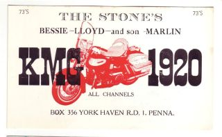 QSL CB Radio Card Pennsylvania PA York Haven KMG 1920 Motorcycle