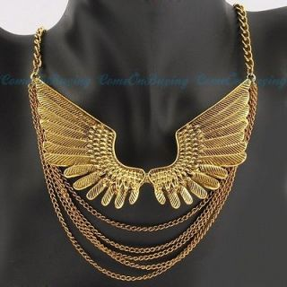 Fashion Golden Chains Angel Wings Style Pendant Necklace N917