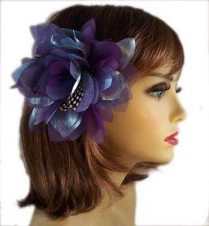 PURPLE BLUE FEATHER FLOWER METALLIC FASCINATOR BRIDAL HAIR CLIP BROOCH