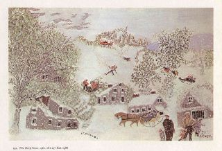 GRANDMA MOSES print winter scene THE DEEP SNOW