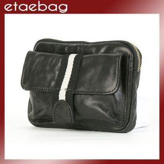 New Vintage Black Fanny Waist pack Genuine Leather Belt bag Hip bag