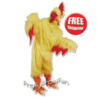 Chicken Mascot Yellow Suit Halloween Costume Adult Bird Mask Feet