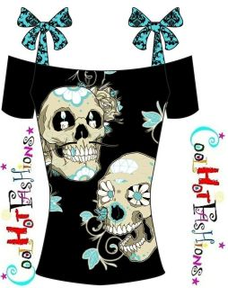 Too Fast Sugar Skull Staches Mustache shirt Top punk psychobilly pinup