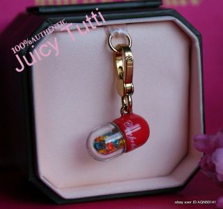 SALE♥ JUICY COUTURE Cure For Common Couture Crystal Pill Gold Charm