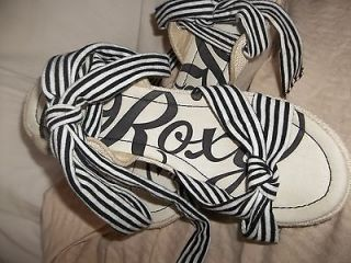 NEW Roxy Womans Black & White Wedge Platform Sandal Tie At Ankle Shoes