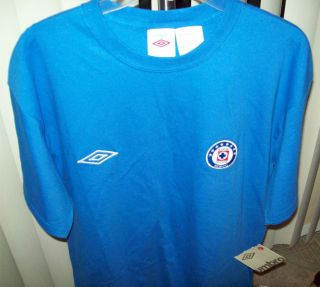 NWT UMBRO MENS CRUZ AZUL (SOCCER) T SHIRT COLOR ROYAL BLUE