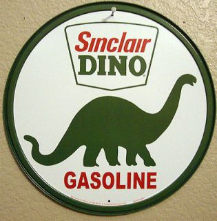 DINO GAS 1950s Antique Vintage Barn Find Look Gas Pump Oil Metal Sign